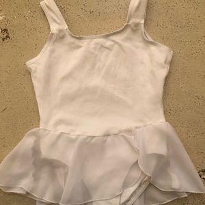 Danskin Girl's White Leotard witty Skirt Size 8-10